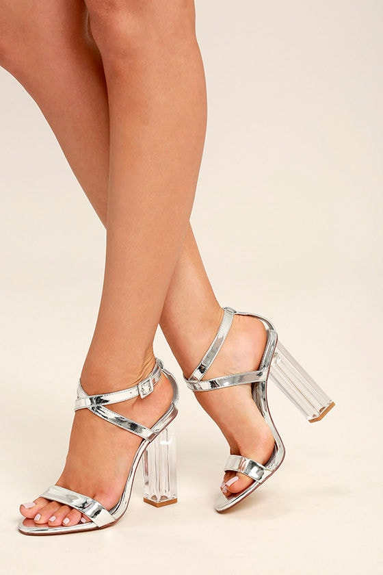 Chic Silver Heels - Lucite Heels - Block Heels - Vegan Leather Heels -   42.00