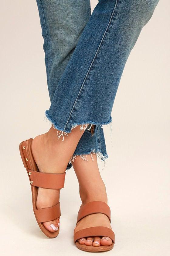 07a6247fc04e0 Steve Madden Dakotas - Tan Leather Sandals - Tan Slide Sandals ...
