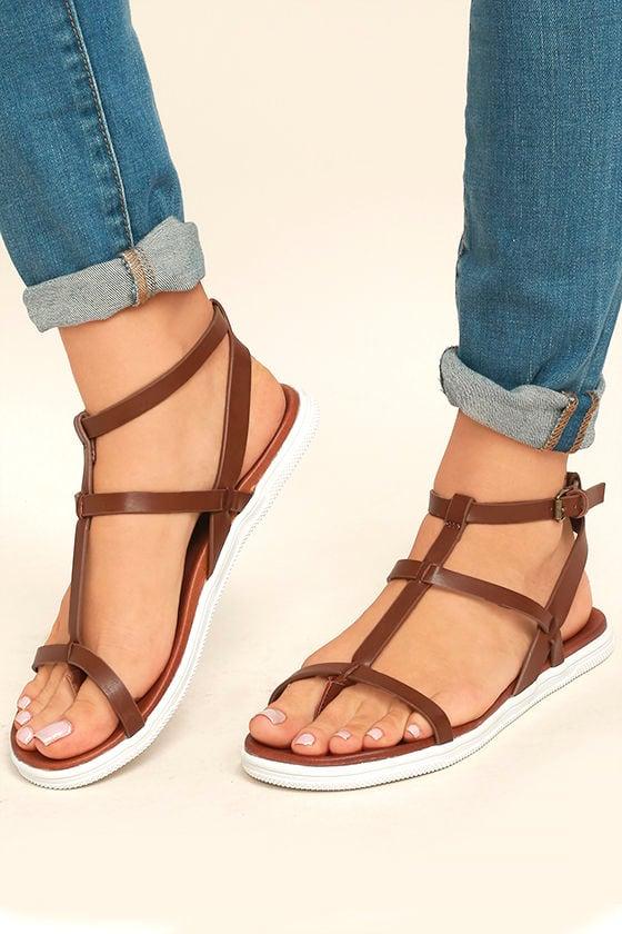 Mia Eryn Cognac Flat Sandals 2