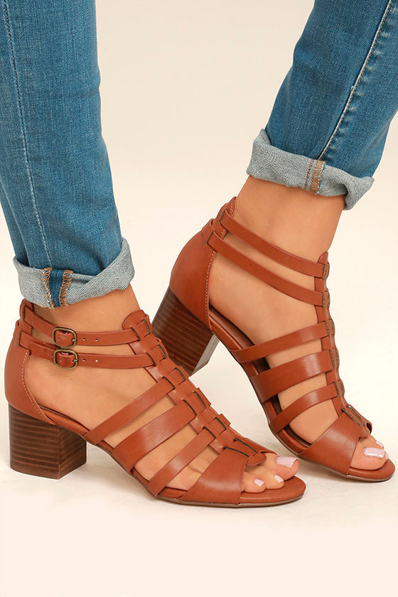 Restricted Hudson Whiskey Brown Caged High Heel Sandals 1
