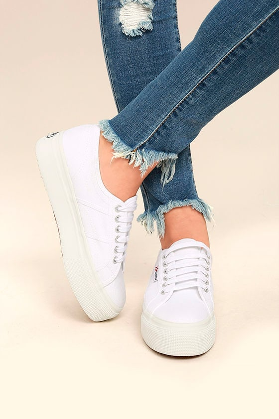 Superga 2790 ACOTW Linea Up and Down White Flatform Sneakers 1