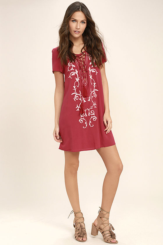 5bad6add524 Pretty Red Dress - Lace-Up Dress - Embroidered Dress -  54.00