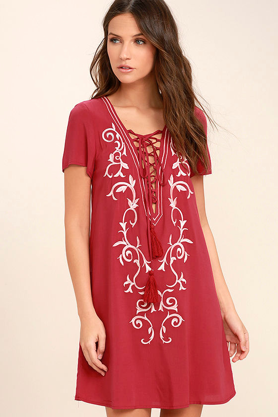 Down in Kokomo Red Embroidered Lace-Up Dress 3