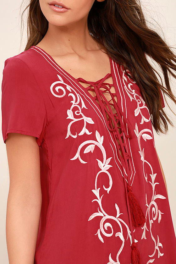 Down in Kokomo Red Embroidered Lace-Up Dress 5