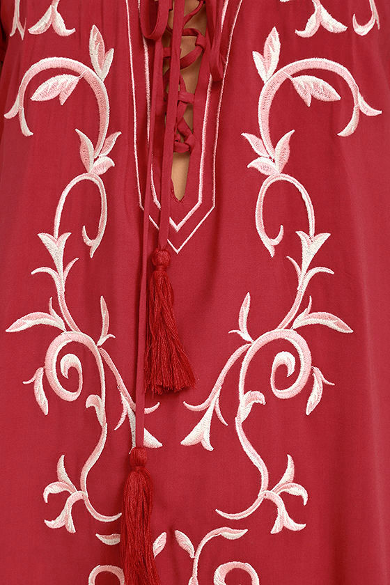 Down in Kokomo Red Embroidered Lace-Up Dress 6