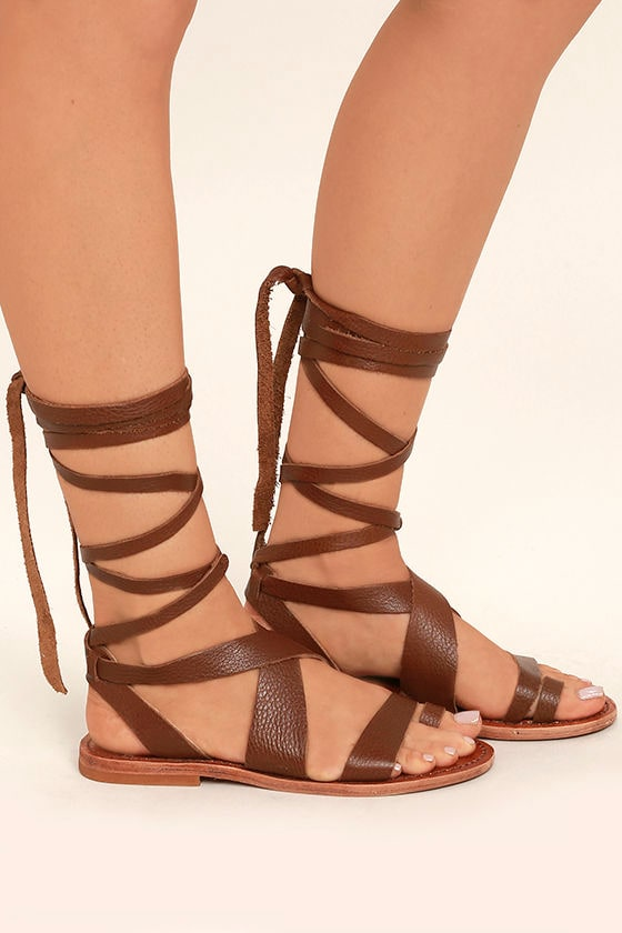 Sbicca Zaylee Brown Leather Lace-Up Flat Sandals 3