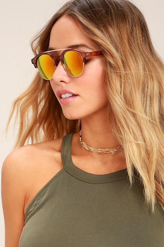 Neat Brown Mirrored Sunglasses 1