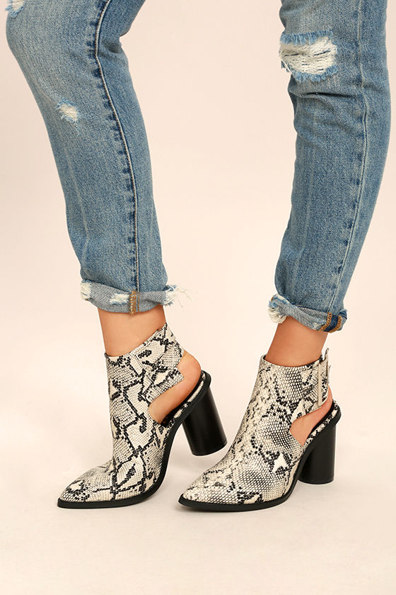 Keelin Snake Pointed Ankle Booties 1