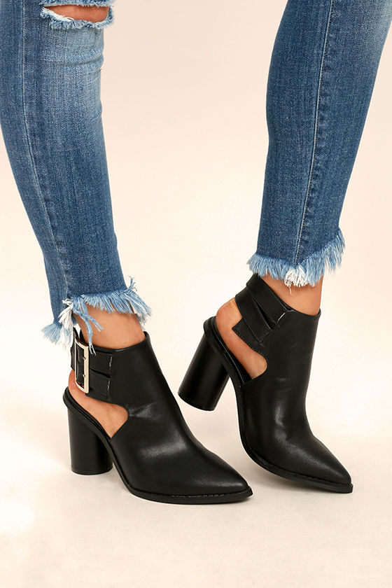 Keelin Black Pointed Ankle Booties 1