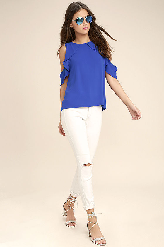 2501ae96f2154 Cute Royal Blue Top - Off-the-Shoulder Top - Blouse -  37.00