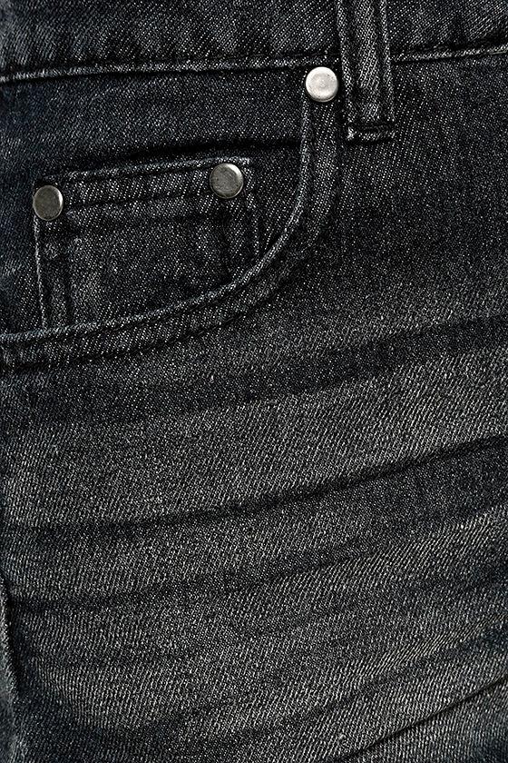 Free to Festival Washed Black Distressed Cutoff Denim Shorts 6