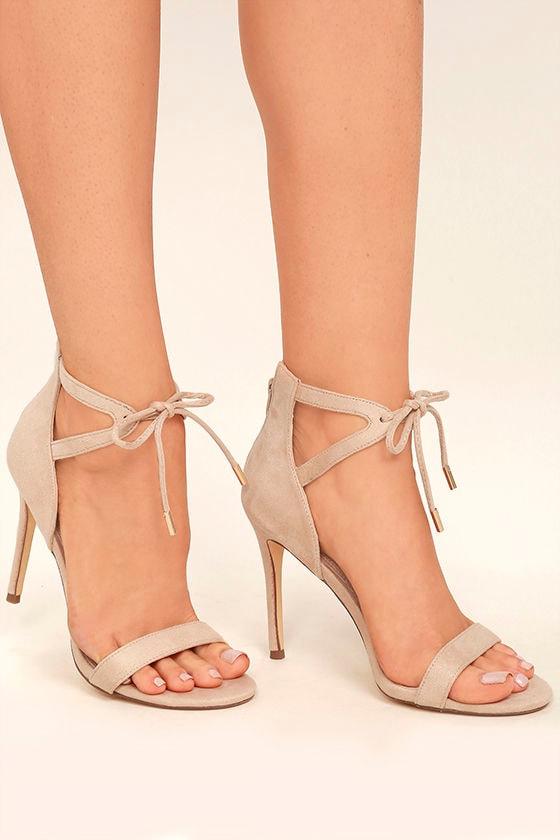Kate Nude Suede Ankle Strap Heels 1