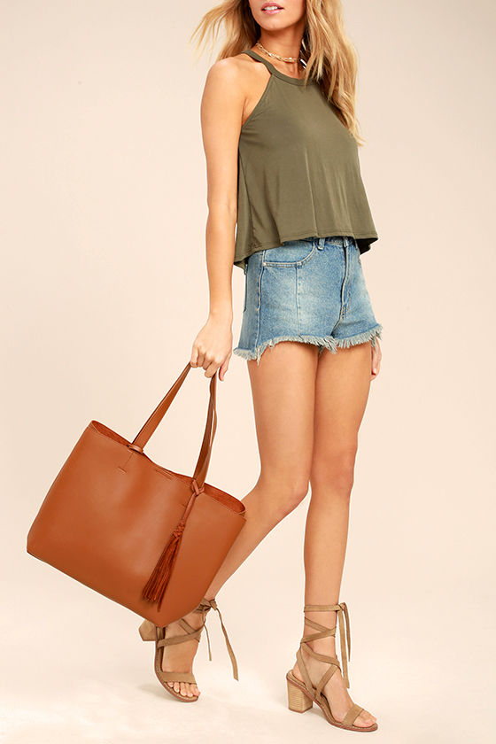 Lulus - Timeless Beauty Brown Tote - Vegan Friendly