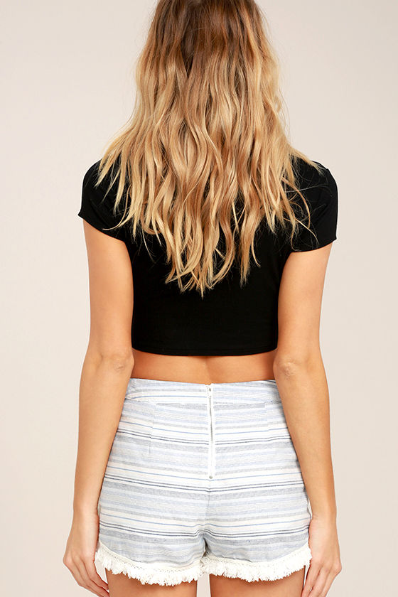 Savvy Blue and White Striped Shorts 4