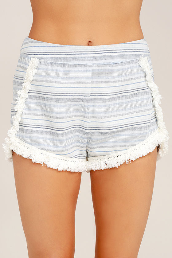 Savvy Blue and White Striped Shorts 5