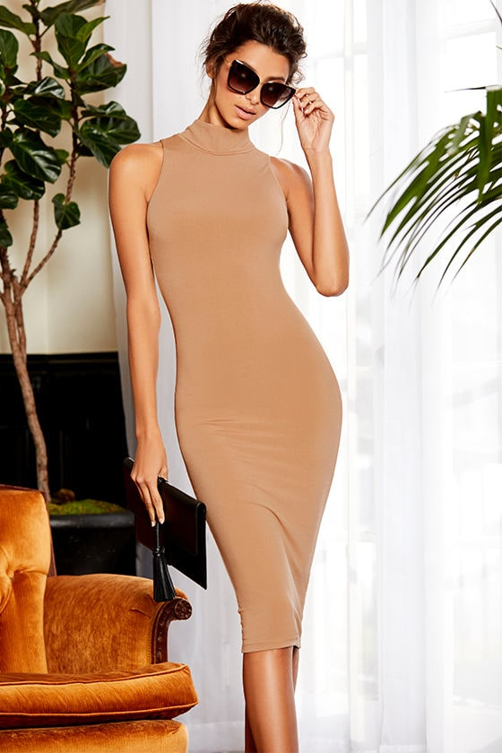Rock Your Body Right Light Brown Bodycon Midi Dress 1