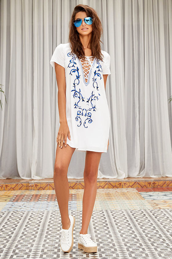 Down in Kokomo Ivory Embroidered Shift Dress 2