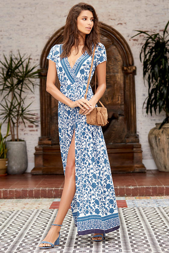 French Doors Ivory and Blue Floral Print Wrap Maxi Dress 2