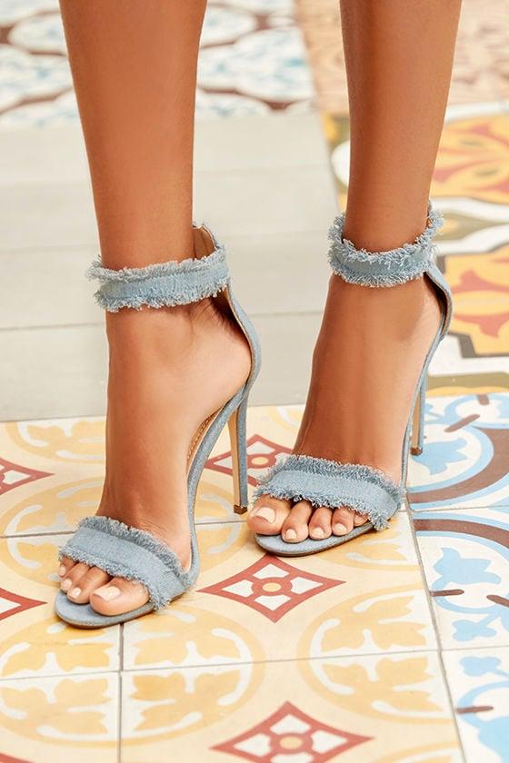 Freya Blue Denim Ankle Strap Heels 1