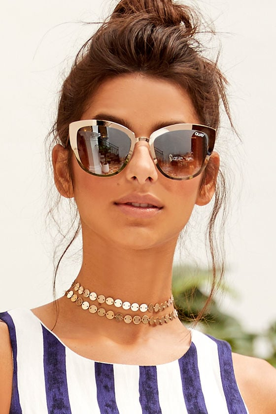 c34aba7025 Quay Super Girl Silver and Gold Mirrored Cat-Eye Sunglasses