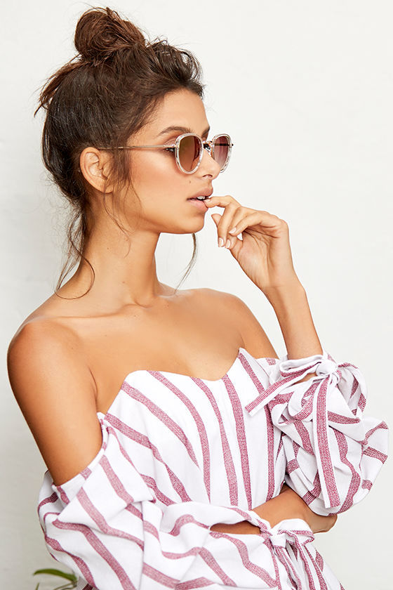 f967a69546f32 Cute Red and White Top - Striped Top - Off-the-Shoulder Top - $49.00