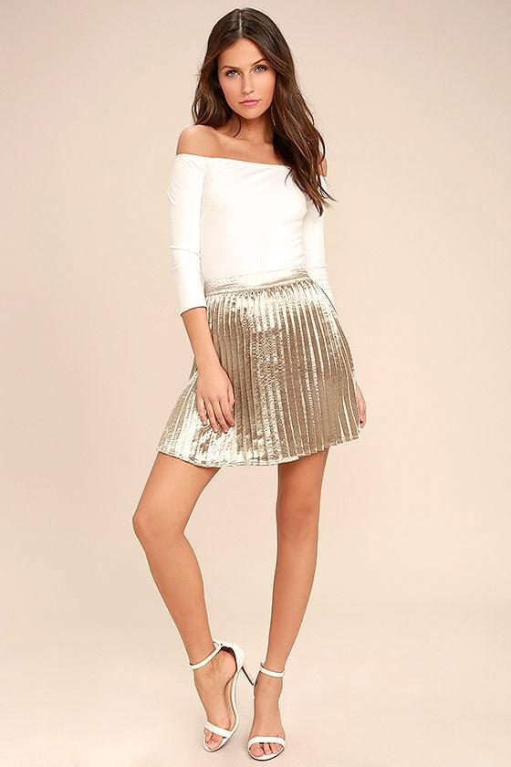 da518b3e8af Stunning Champagne Skirt - Satin Skirt - Pleated Skirt - Mini Skirt ...