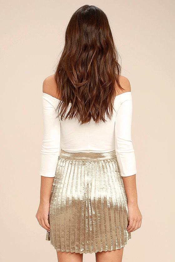 Swing Era Champagne Satin Mini Skirt 3
