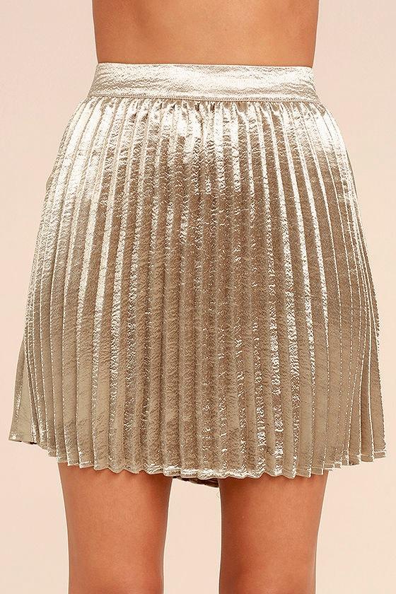 Swing Era Champagne Satin Mini Skirt 4