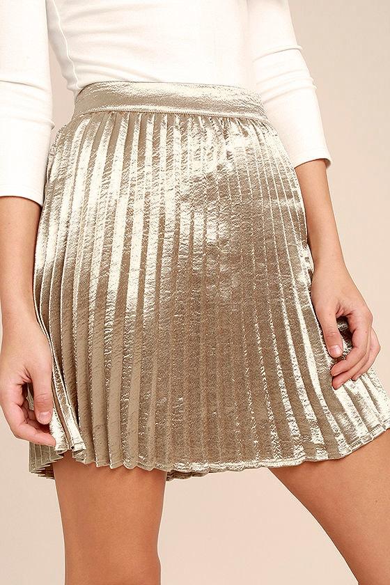 Swing Era Champagne Satin Mini Skirt 5