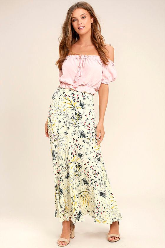 Heartfelt Cream Floral Print Maxi Skirt 1