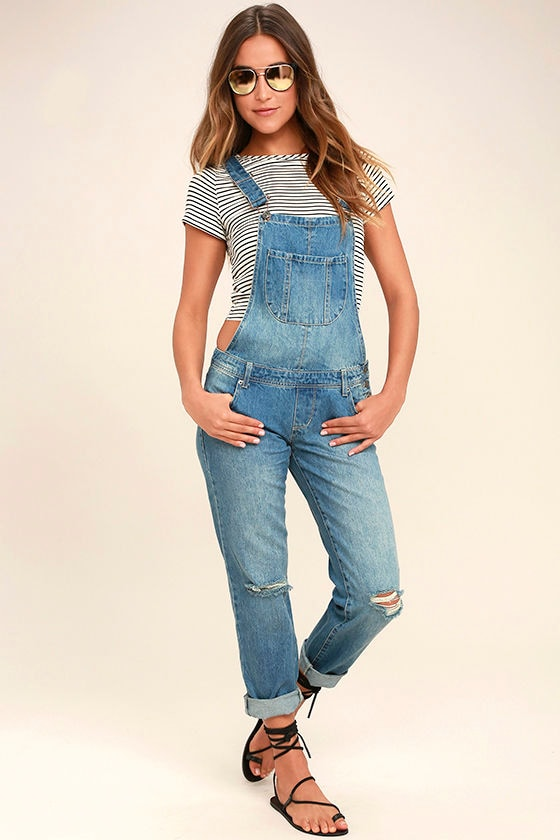 Lend a Hand Medium Wash Distressed Denim Overalls 1