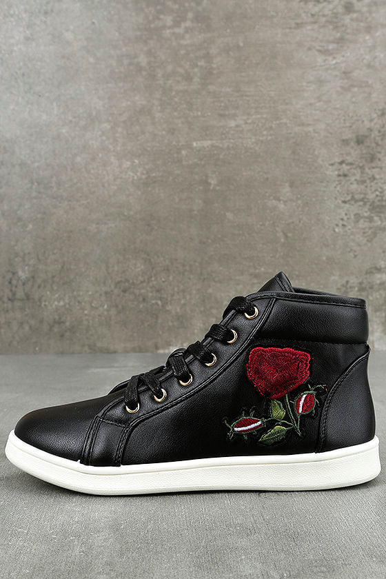 Cynara Black Embroidered High-Top Sneakers 1