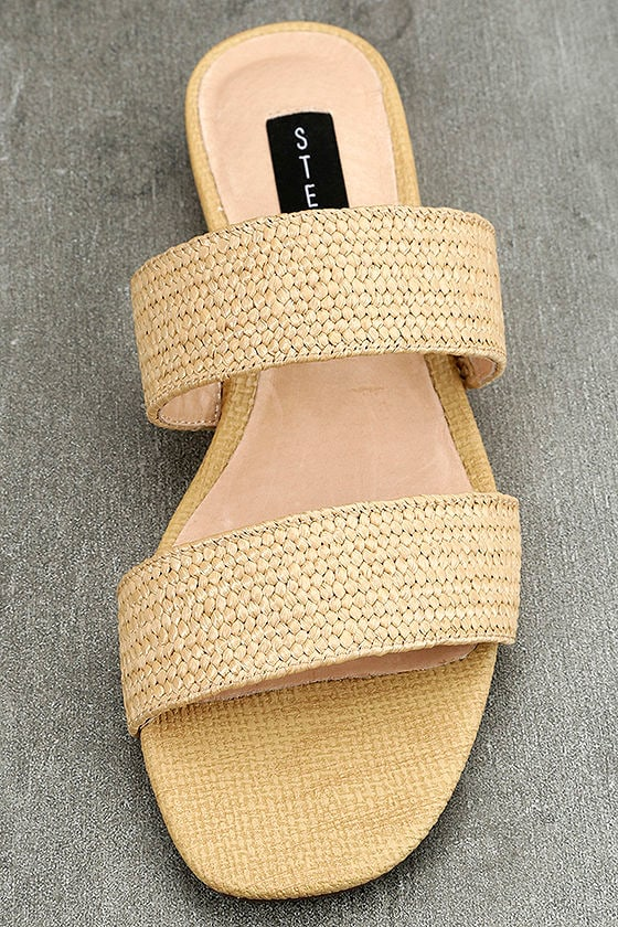 Steven by Steve Madden Friendsy Natural Multi Slide Sandals 5