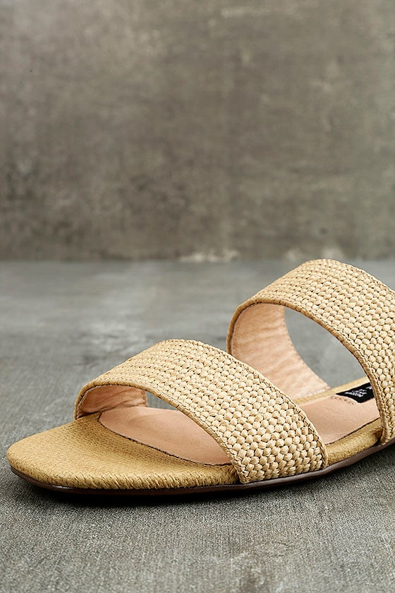Steven by Steve Madden Friendsy Natural Multi Slide Sandals 6