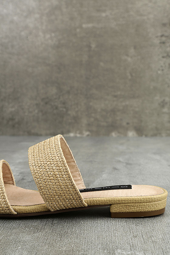 Steven by Steve Madden Friendsy Natural Multi Slide Sandals 7