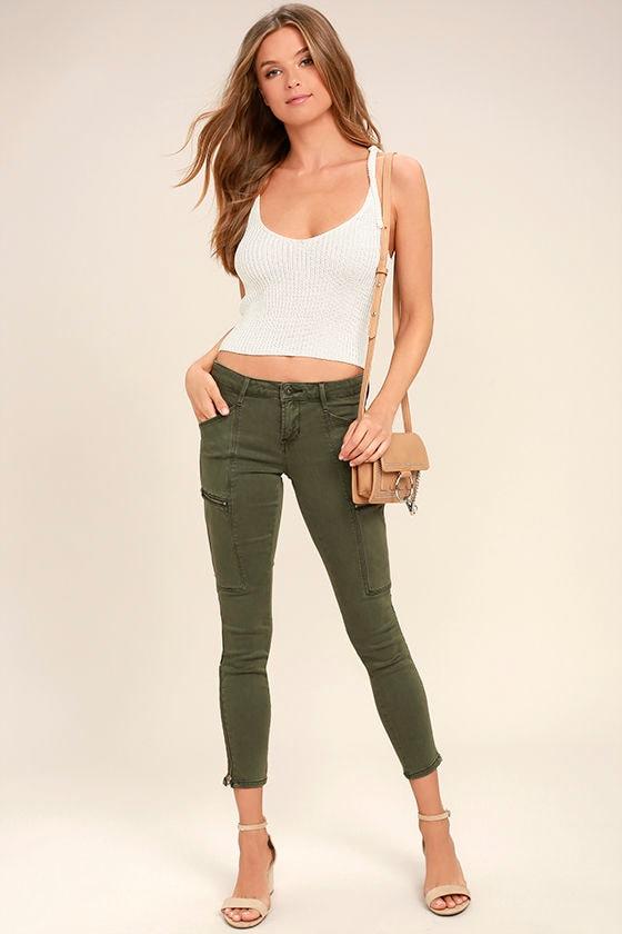 Skinny olive green jeans