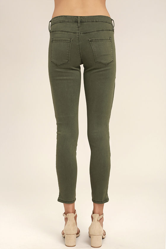 Cute Washed Olive Green Jeans - Skinny Jeans - Ankle Zip Jeans ...