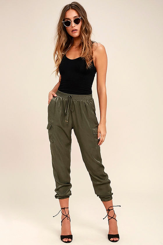 Up and at 'Em Olive Green Jogger Pants 1