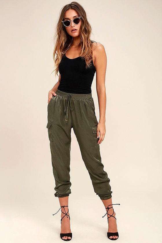 2adb1d7ed Cute Olive Green Pants - Jogger Pants - Casual Pants -  44.00