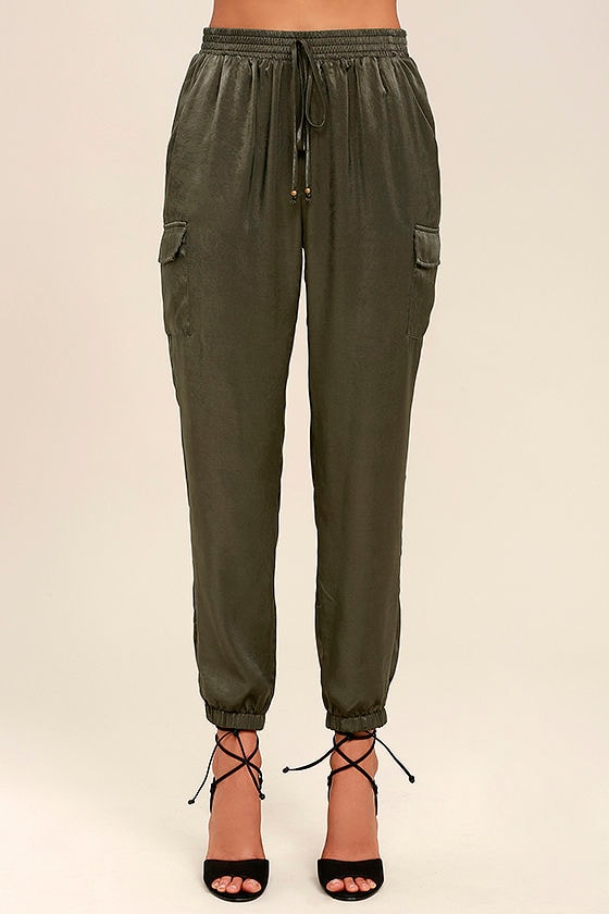 Up and at 'Em Olive Green Jogger Pants 2