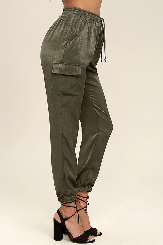 Up and at 'Em Olive Green Jogger Pants 3