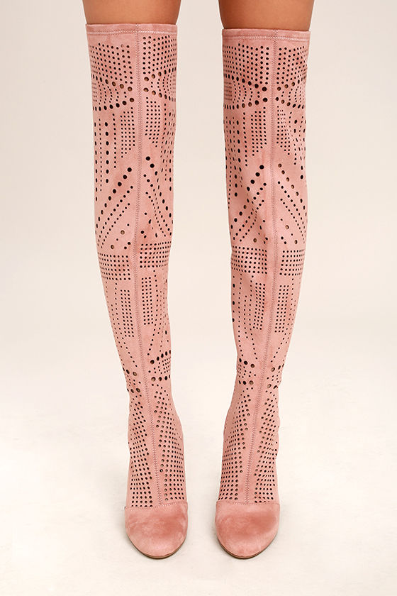 Steve Madden Eden Rose Suede Cutout Over the Knee Boots 2