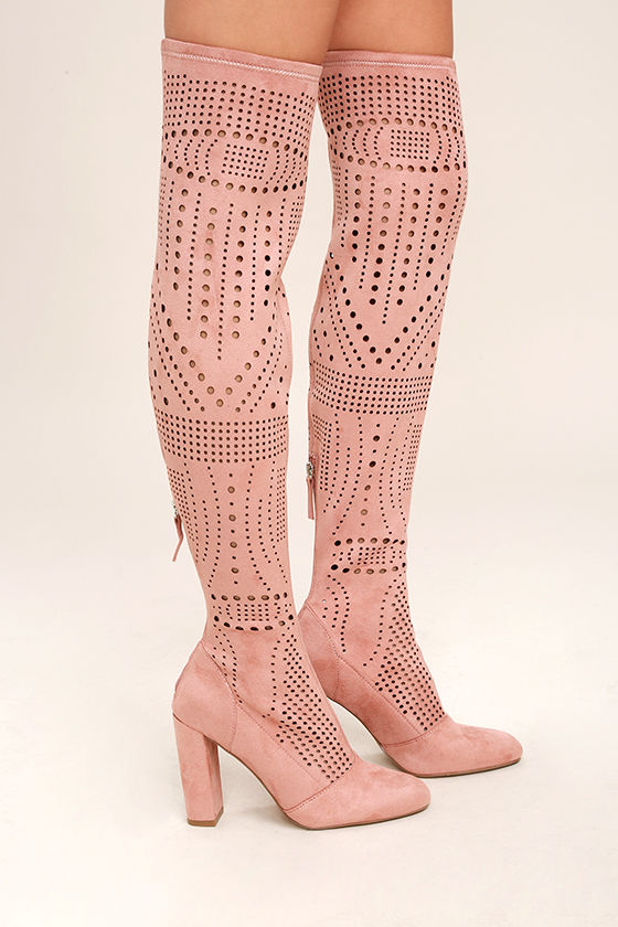 Steve Madden Eden Rose Suede Cutout Over the Knee Boots 3