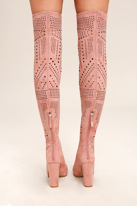 Steve Madden Eden Rose Suede Cutout Over the Knee Boots 4