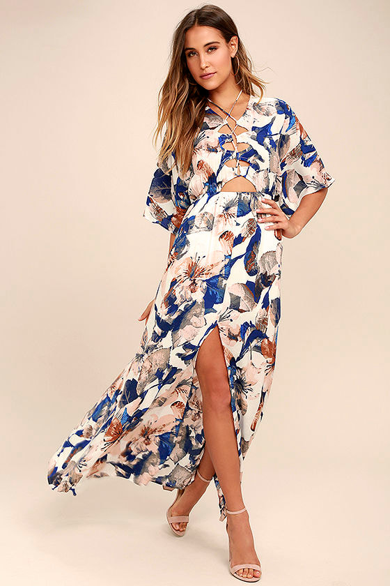 Loveliest of All White Floral Print Lace-Up Maxi Dress 1