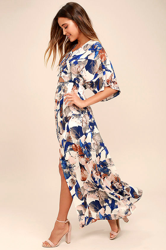 Loveliest of All White Floral Print Lace-Up Maxi Dress 2