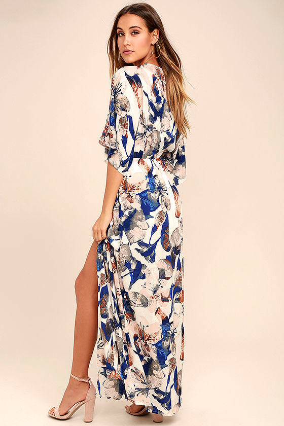 Loveliest of All White Floral Print Lace-Up Maxi Dress 3