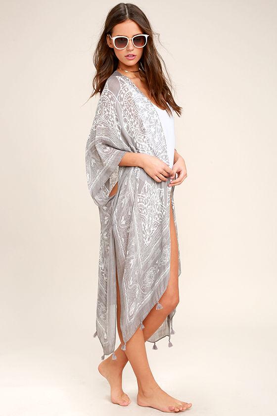 55651beb822f5 Boho Cover-Up - Grey Print Cover-Up - Swim Cover-Up