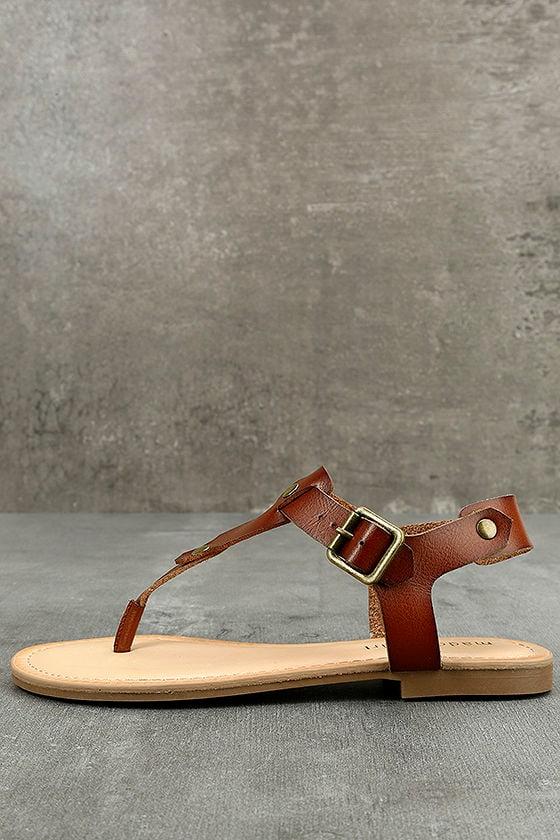 9ed6d66ce Madden Girl Matcha - Cognac Flat Sandals - Brown and Gold Sandals - Brown  Thong Sandals -  39.00