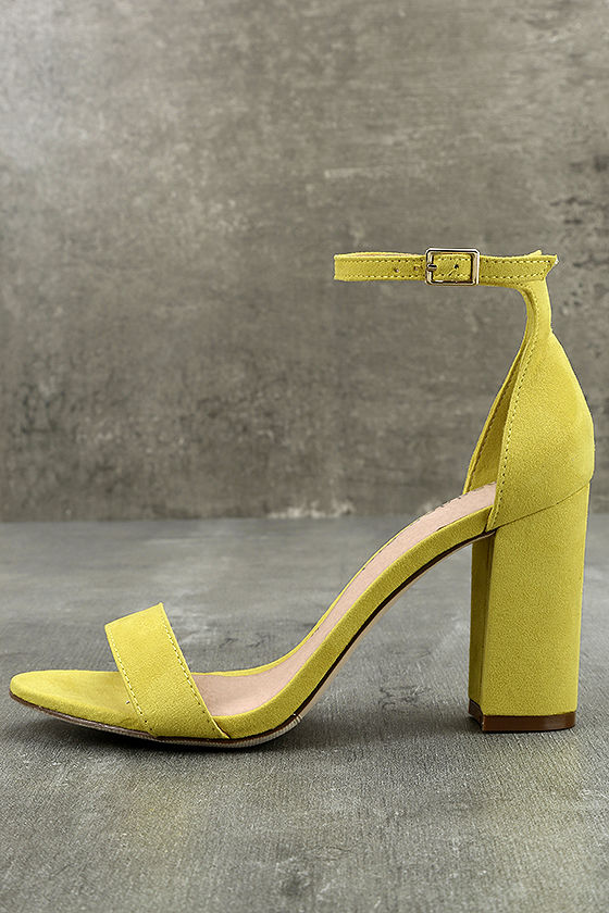 Madden Girl Beella Yellow Suede Ankle Strap Heels 2
